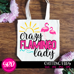 Crazy Flamingo Lady - 2 Flamingos SVG