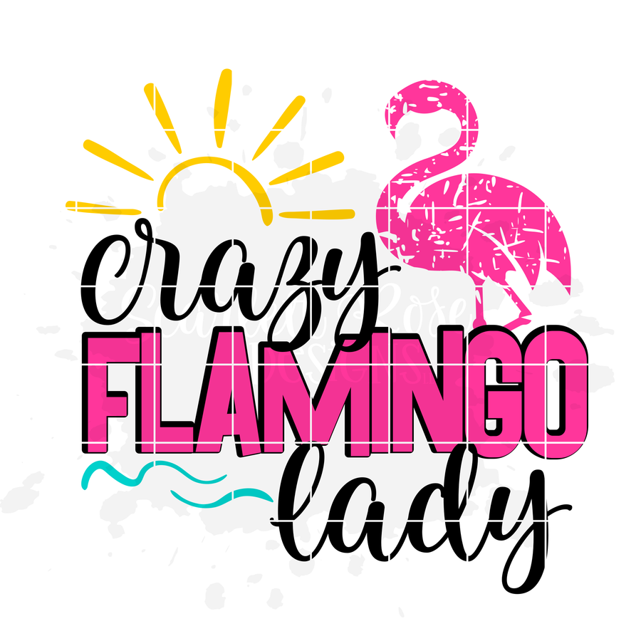 Crazy Flamingo Lady - 1 Flamingo - Distressed SVG