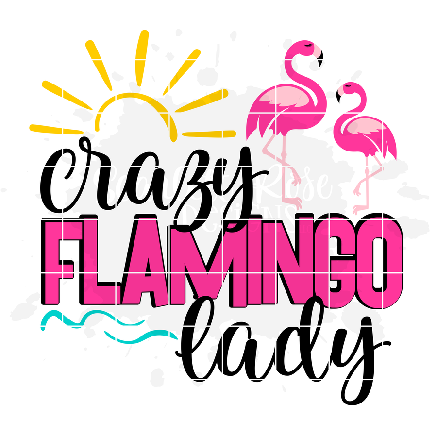 Crazy Flamingo Lady - 2 Flamingos SVG cut file