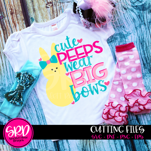 Easter SVG, Cute Peeps Wear Big Bows cut file