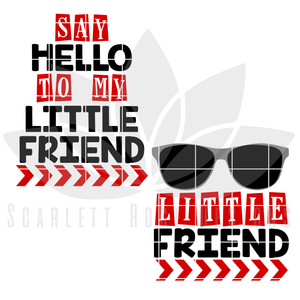 Father's Day SVG, DXF, Say Hello to my Little Friend, New Baby, Matching cut file