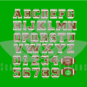 Football Font, Letters, Numbers Mongrams SVG cut file, Football pattern letters SVG, EPS, PNG
