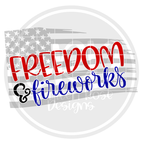 Freedom & Fireworks - Grey Flag SVG