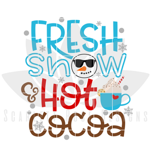 Christmas SVG, DXF cut file, Fresh Snow and Hot Cocoa SVG cut file