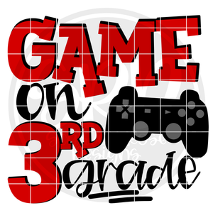 Game On 3rd Grade SVG - Red