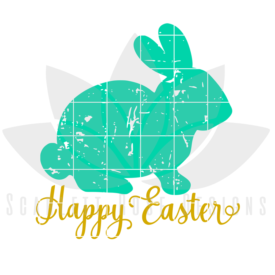 Easter SVG, Happy Easter - Distressed Bunny SVG