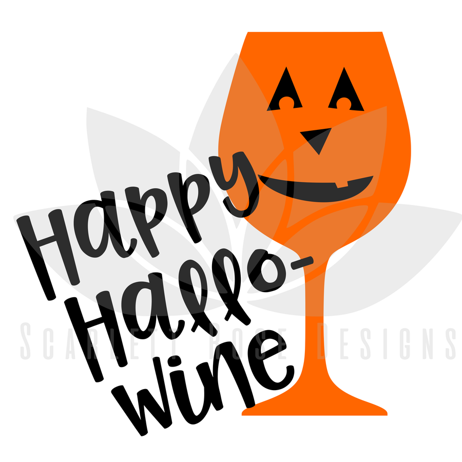 Halloween SVG cut file, Hallo-Wine, Pumpkin Wine Glass SVG