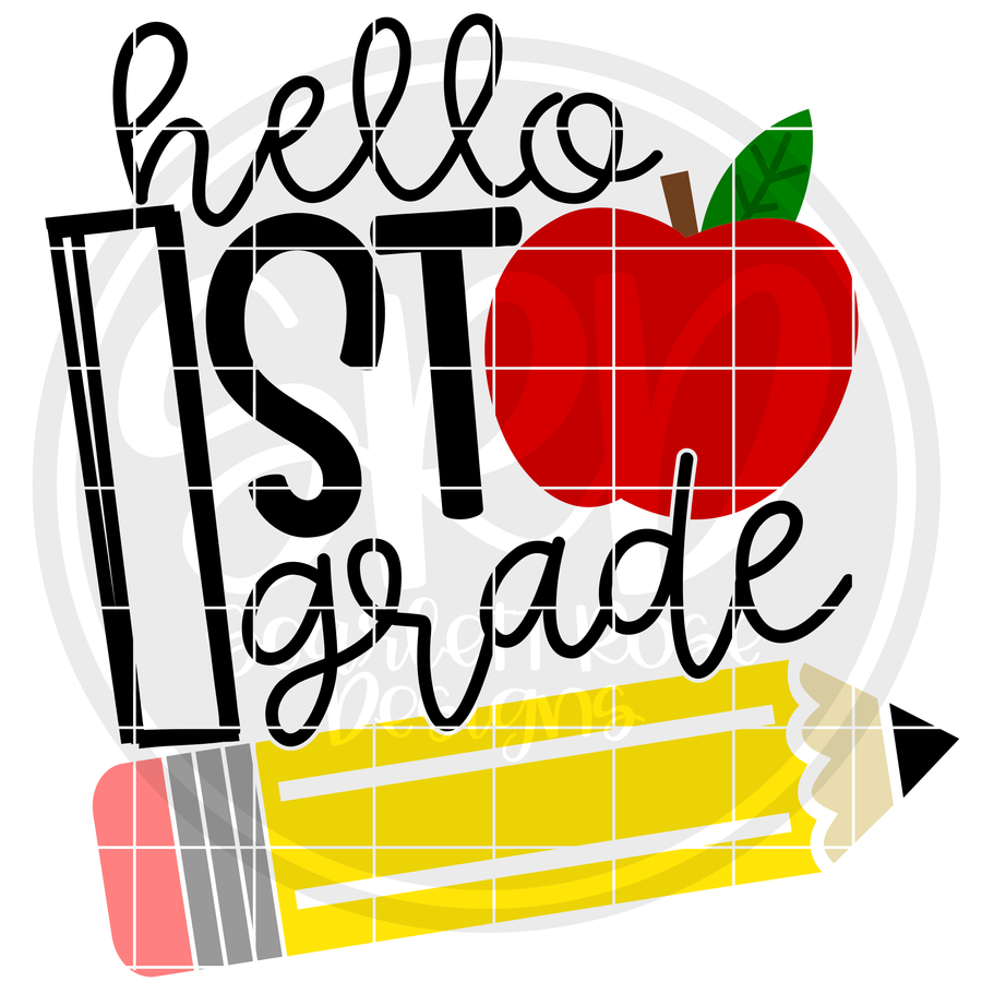 Hello First Grade SVG - Apple and Pencil
