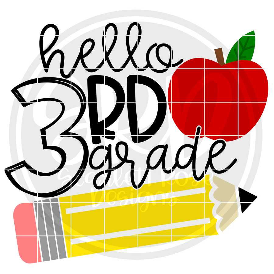 Hello Third Grade SVG - Apple and Pencil