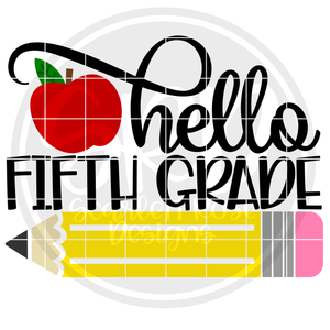 Hello Fifth Grade SVG - Apple Color