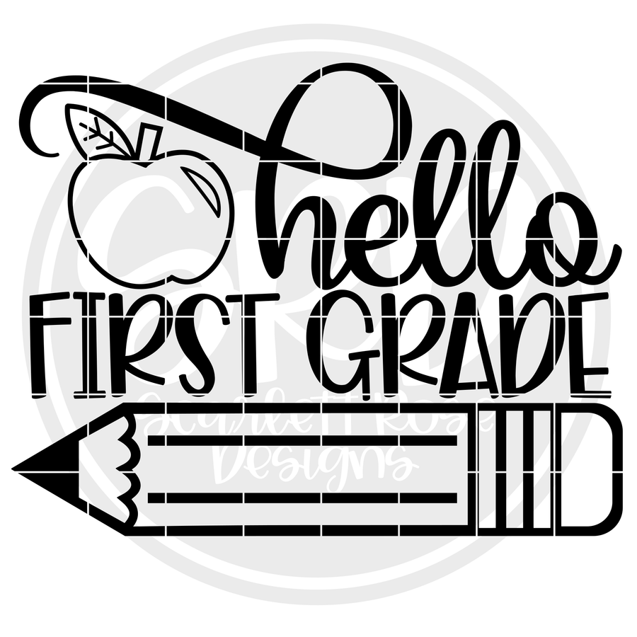 Hello First Grade SVG - Apple (One Layer)