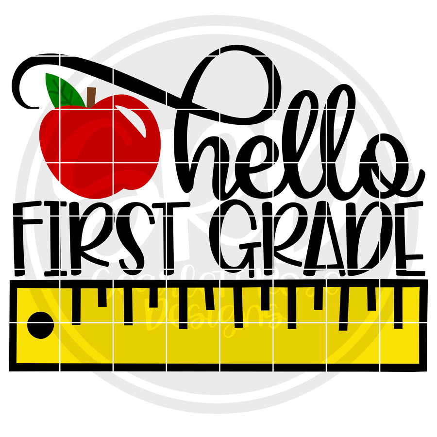 Hello First Grade SVG - Ruler Color