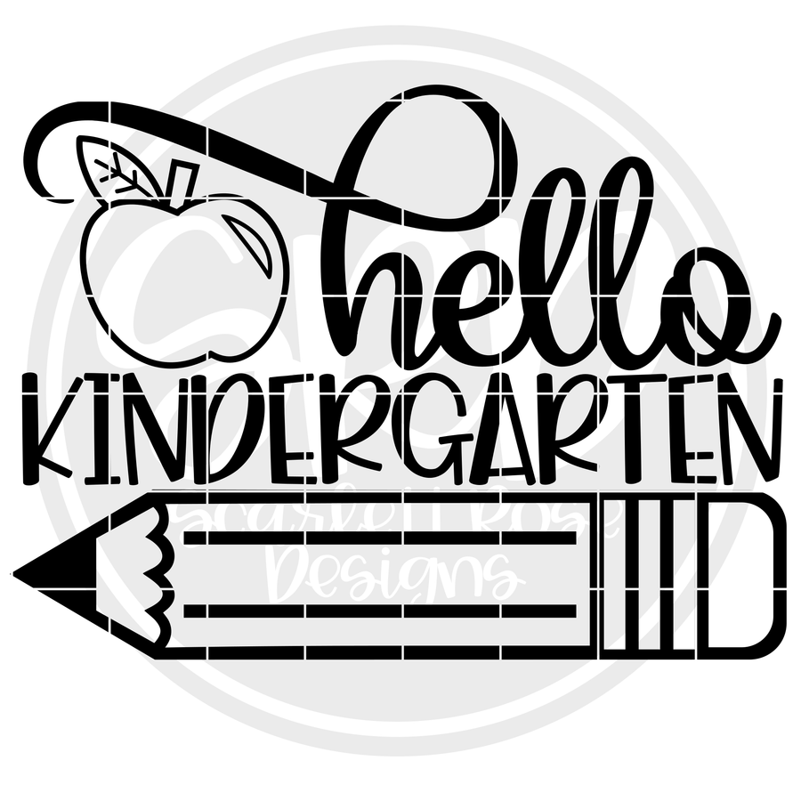 Hello Kindergarten SVG - Apple (One Layer)