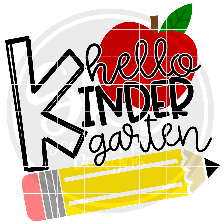 Hello Kindergarten SVG - Apple and Pencil