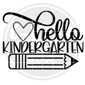Hello Kindergarten SVG - Black