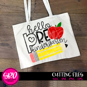 Hello Pre-Kindergarten SVG - Apple and Pencil