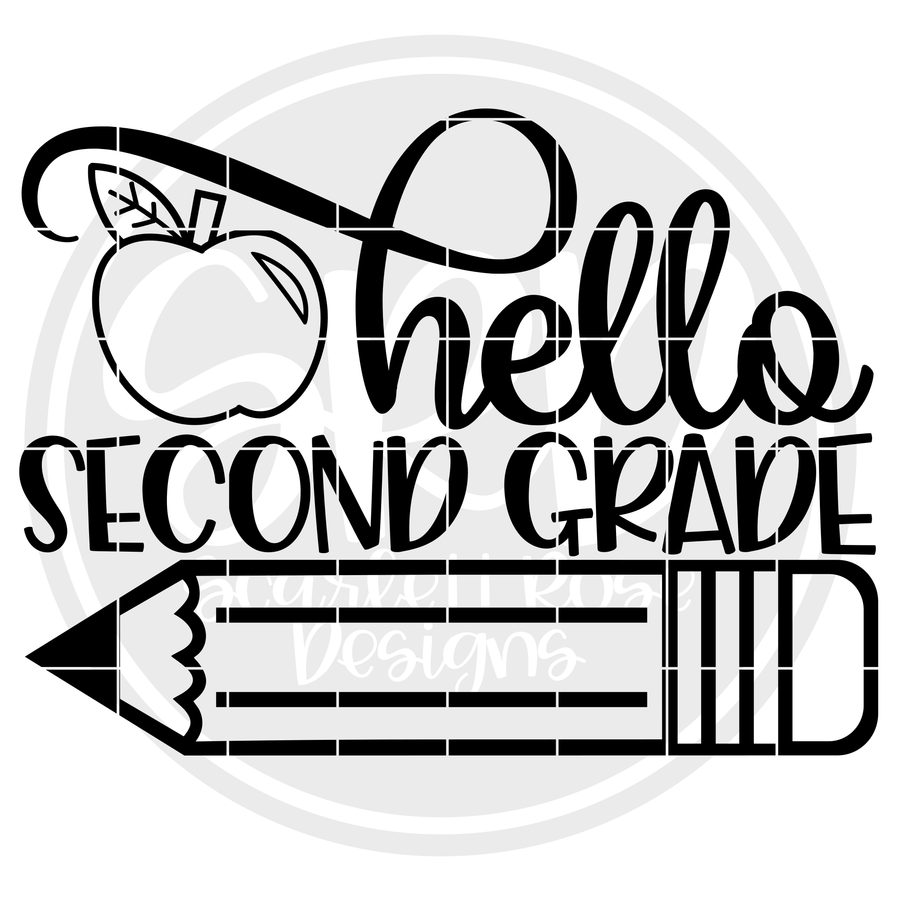 Hello Second Grade SVG - Apple (One Layer)