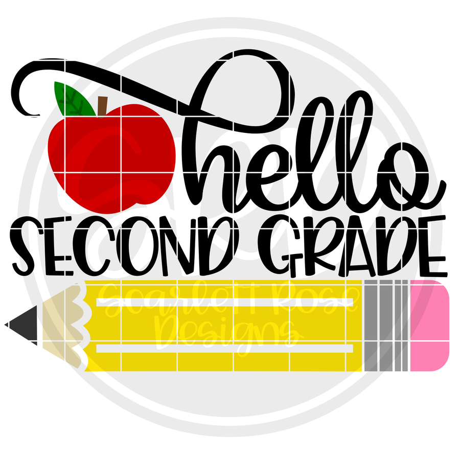 Hello Second Grade SVG - Apple Color