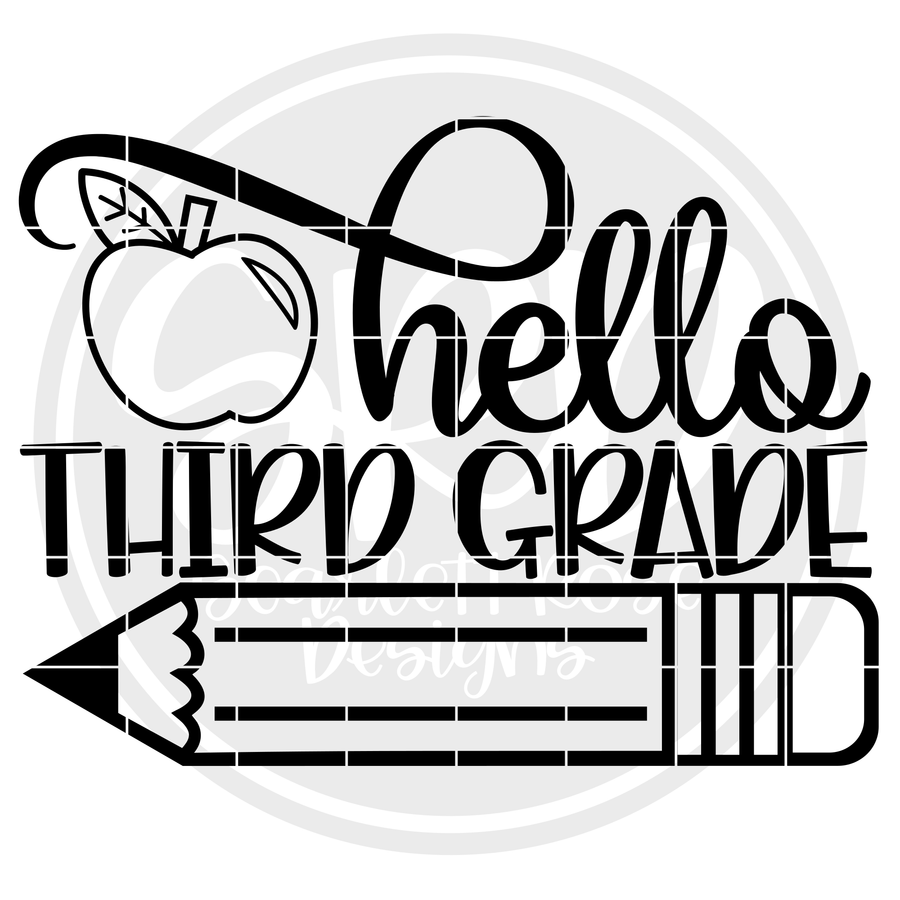Hello Third Grade SVG - Apple (One Layer)