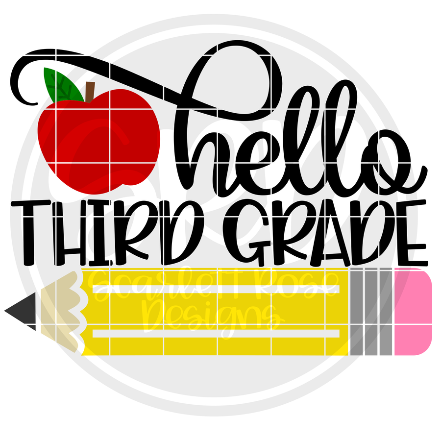 Hello Third Grade SVG - Apple Color