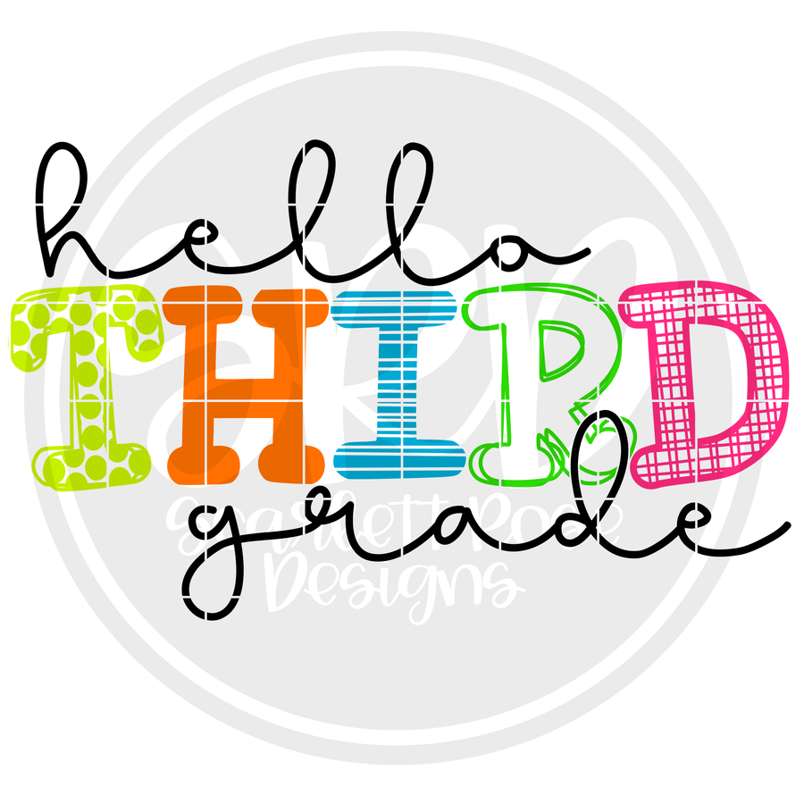 Hello Third Grade - Pattern SVG
