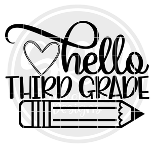 Hello Third Grade SVG - Black