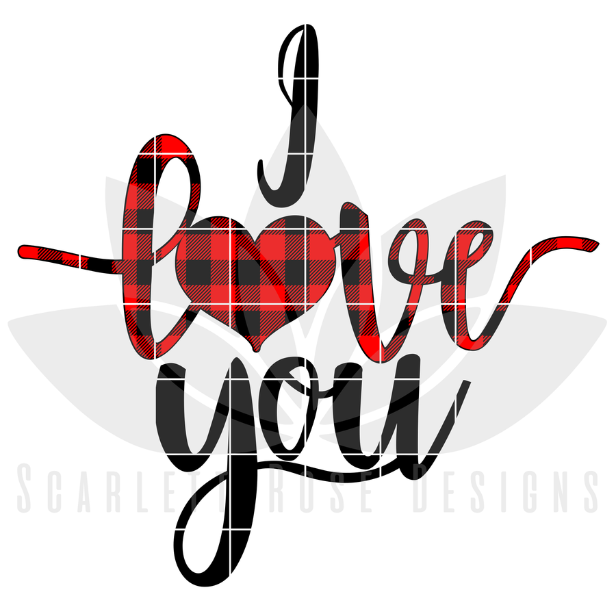 Valentine's Day SVG, DXF, I Love You, Buffalo Plaid