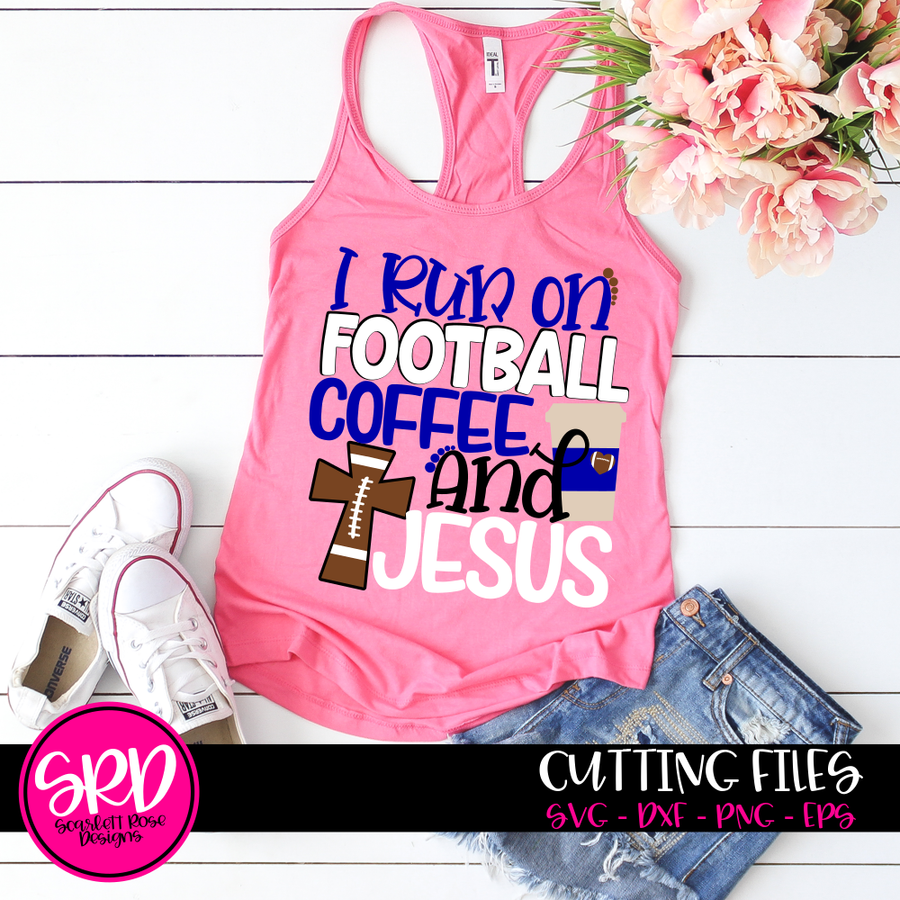 I Run On Football, Coffee and Jesus SVG