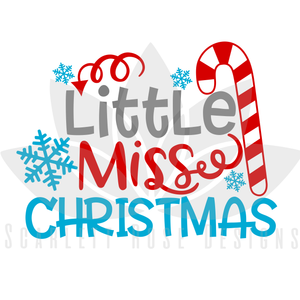 Christmas SVG, Little Miss Christmas, Candy Cane cut file