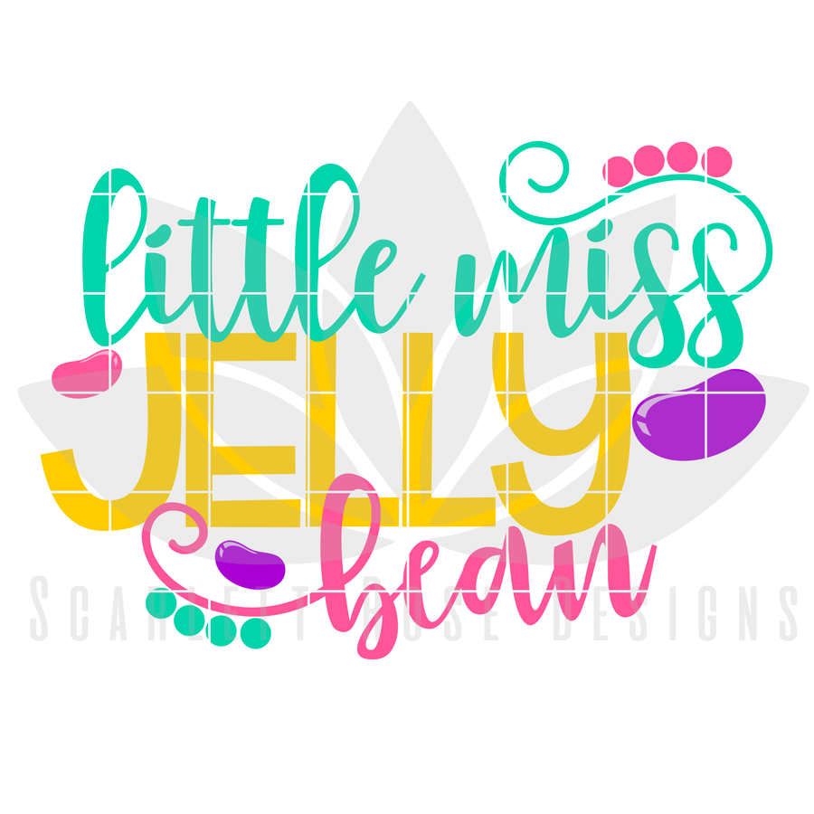 Easter SVG, Little Miss Jelly Bean cut file