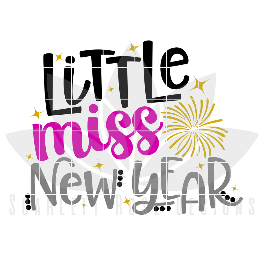 New Years SVG, DXF, Little Miss New Year cut file
