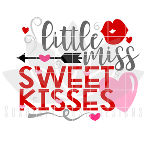 Valentine's Day SVG, DXF, Little Miss Sweet Kisses cut file