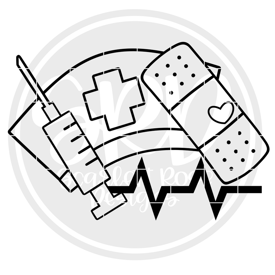 Medical - Band Aid, Shot, Med Hat - Coloring Page SVG