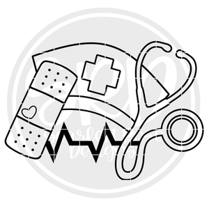 Medical - Band Aid, Stethoscope, Med Hat - Coloring Page SVG