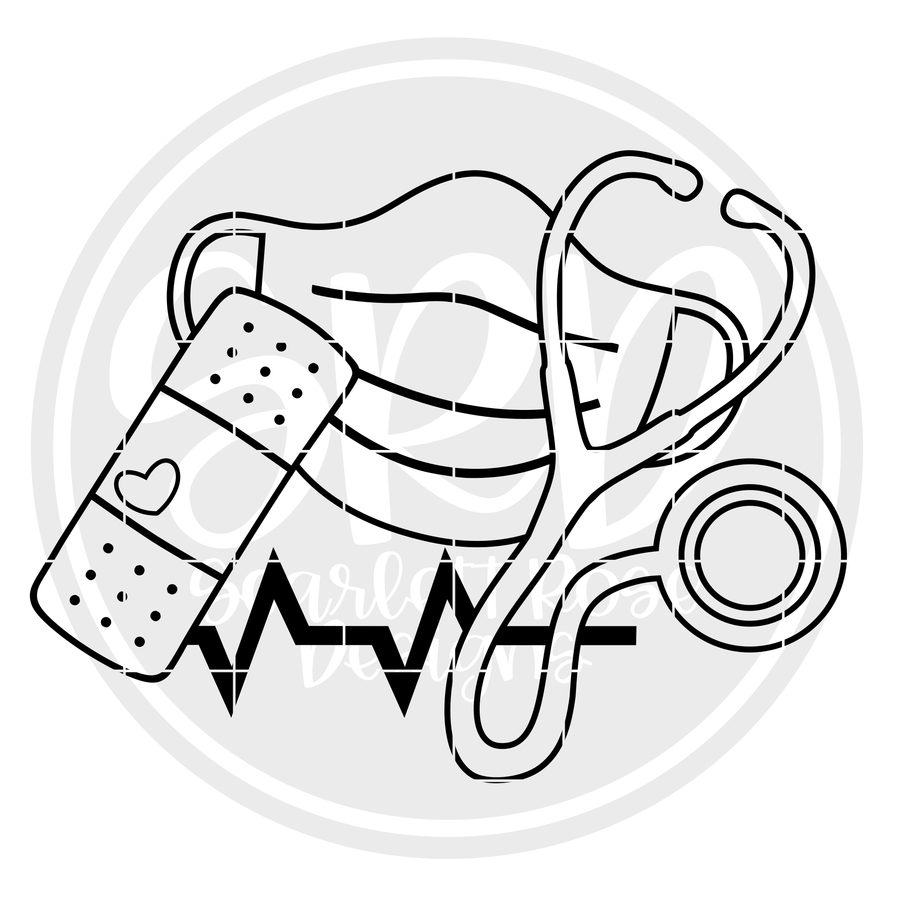 Medical - Mask, Stethoscope, Band Aid - Coloring Page SVG