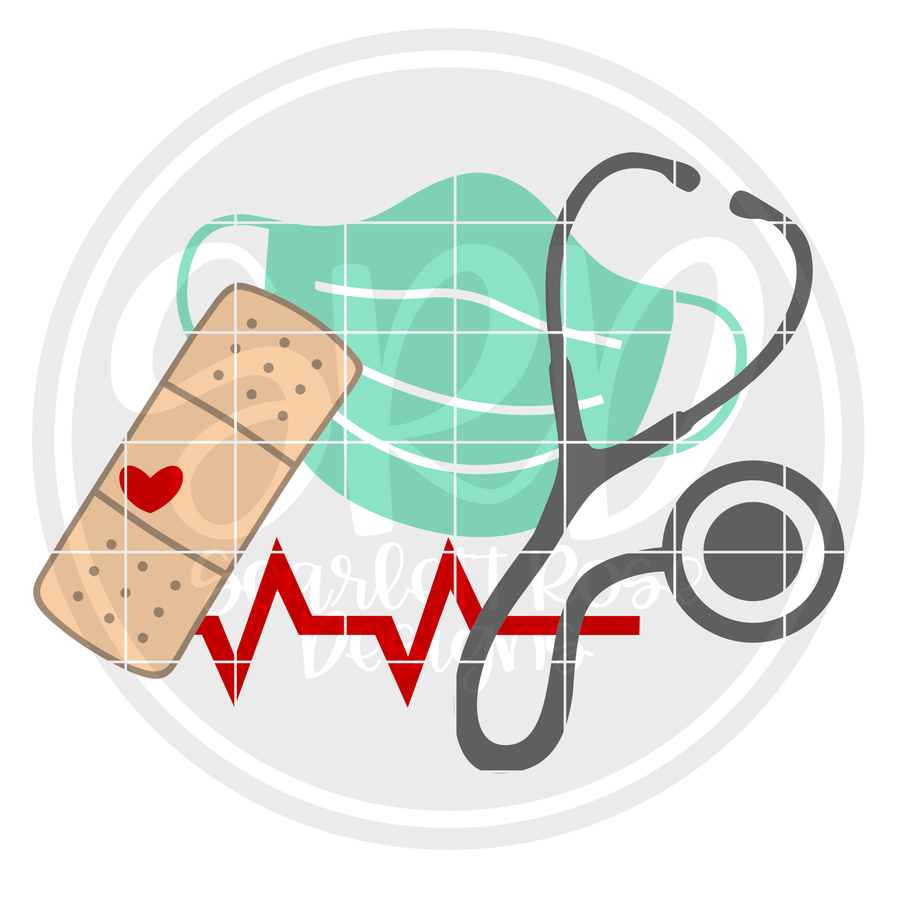 Medical - Mask, Stethoscope, Band Aid SVG