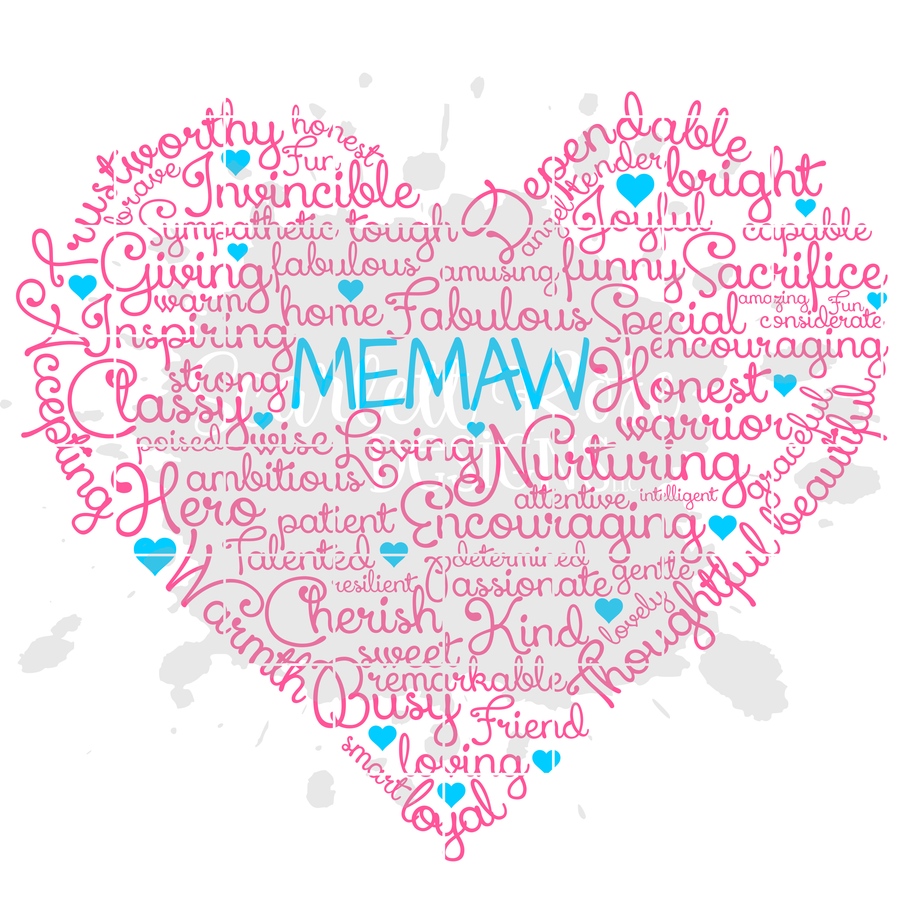 Memaw Heart Word Cloud SVG