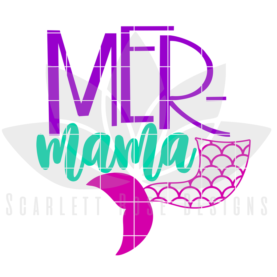 Mermaid SVG cut file. Mommy and Me matching SVG cut file for silhouette cameo and cricut machines.