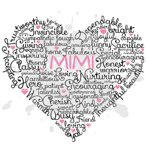 Mimi Heart Word Art SVG