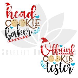 Christmas SVG, DXF Mommy and Me, Head Cookie Baker, Official Cookie Tester cut file