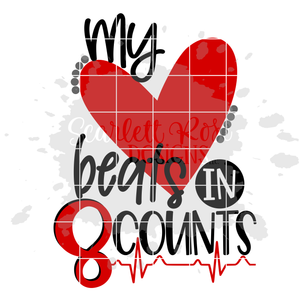 My Heart Beats in 8 Counts - Cheer SVG