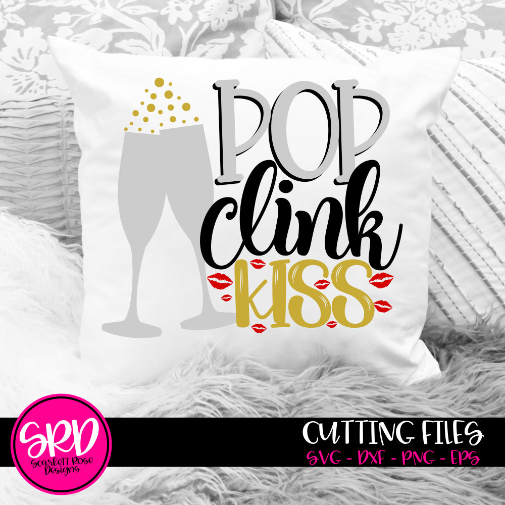 Pop Clink Kiss with Champagne Glasses SVG