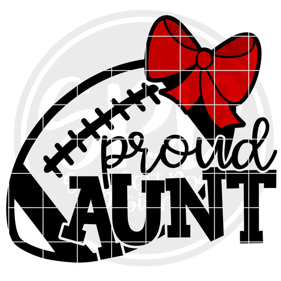 Proud Aunt - Football SVG - Bow