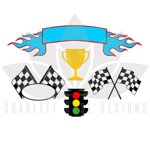 Checkered Flag Racecar SVG cut file, Roaster Racer party SVG, EPS, PNG