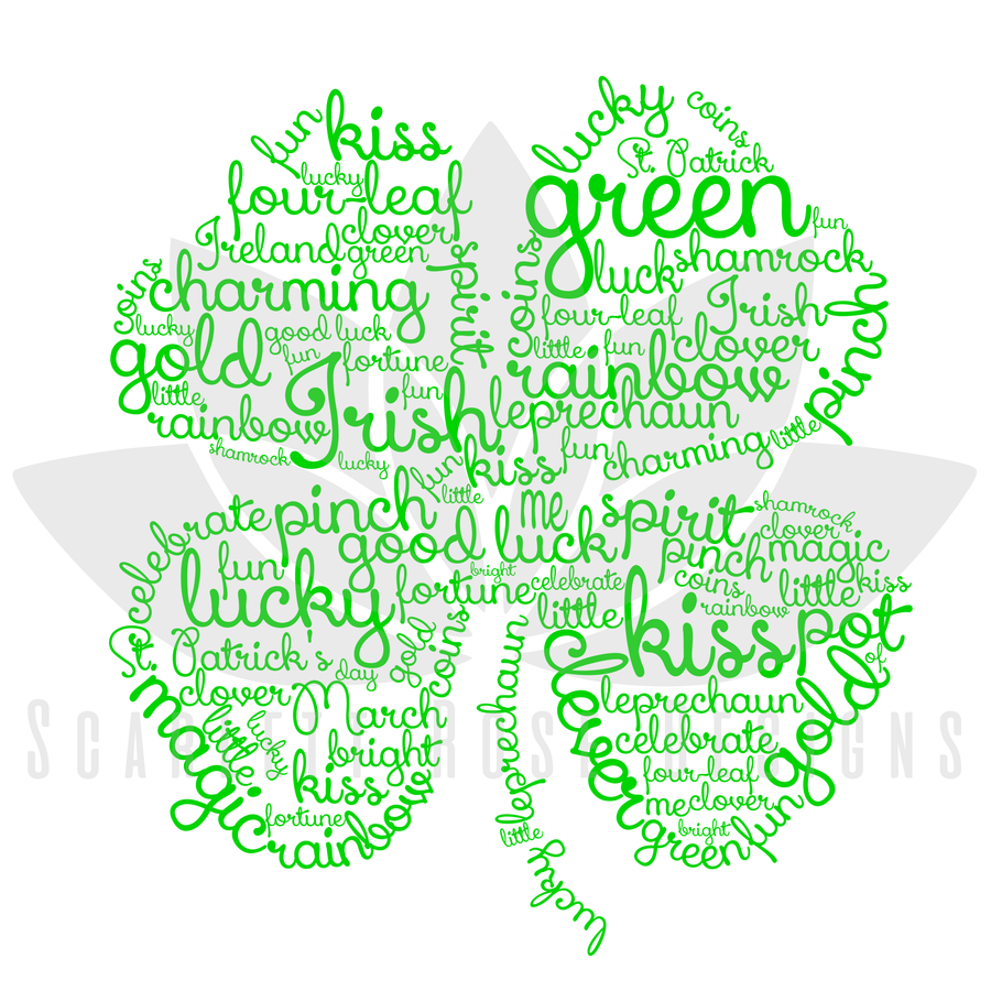 Clover Word Cloud Art SVG cut file