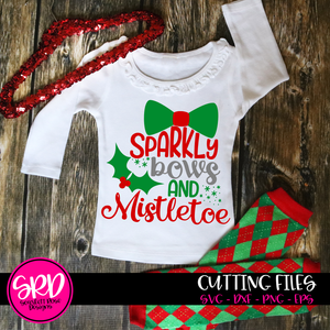 Sparkly Bows and Mistletoe SVG