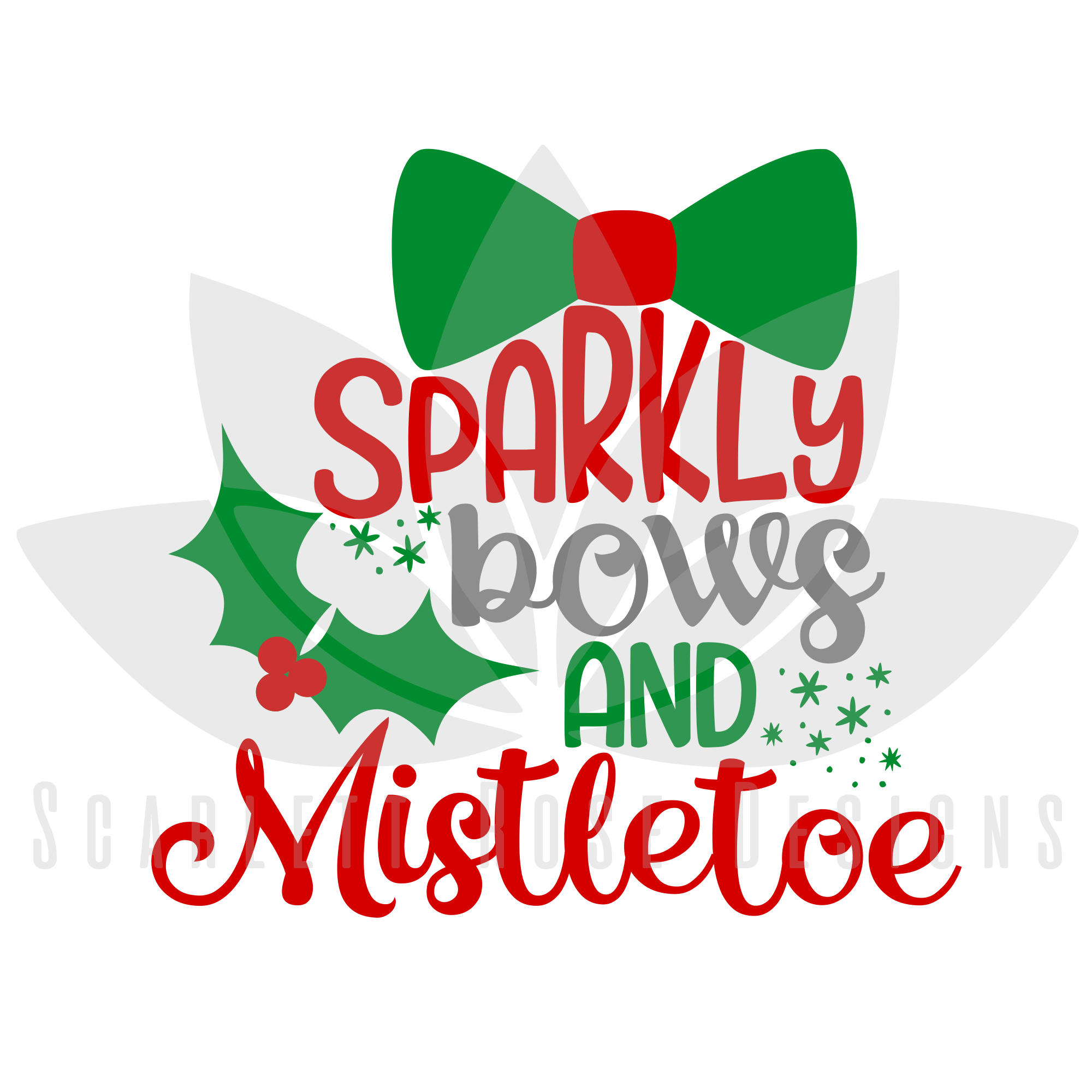 Christmas Bow Svg.Sparkly Bows And Mistletoe Svg