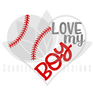 Baseball Heart SVG, Baseball Mom, Love my Boy cut file