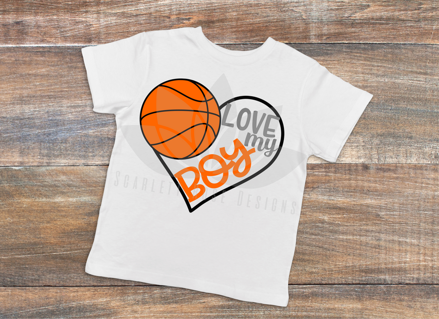 Basketball Sports SVG cut file, Love my Boy Basketball Heart, PNG, EPS, PDF
