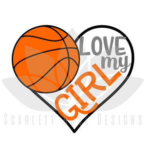 Basketball Sports SVG cut file, Love my Girl Basketball Heart, PNG, EPS, PDF